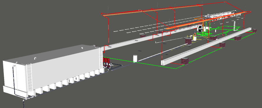Depot Automatic Train Wash MEP 3D View 1